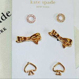 Kate Spade Gold Stud Earrings, Set of 3